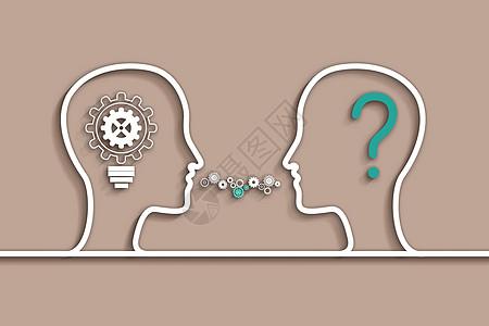 齿轮人脑科技背景图片