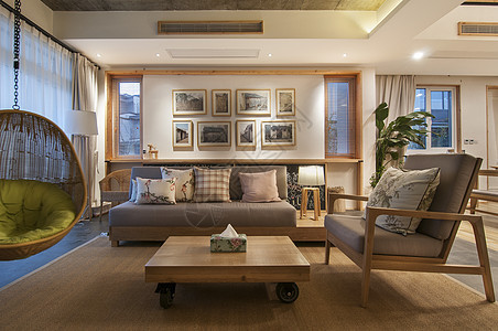 日式原木风格客厅装修图片