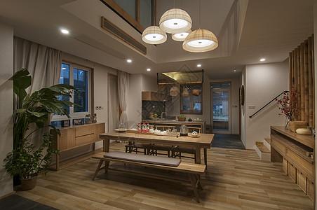 日式原木风格餐厅装修图片
