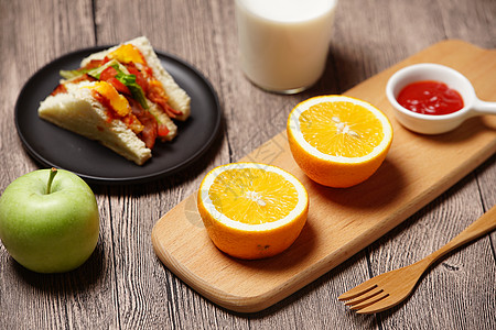 水果与三明治美食组合图片