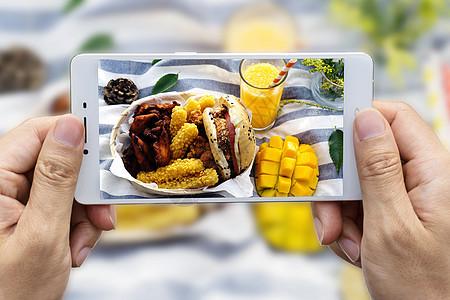手机拍摄户外野餐美食图片