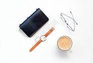 手表 咖啡 眼镜静物背景素材图片