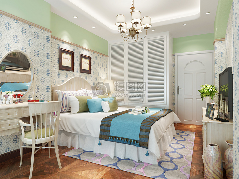 硅藻泥床室内效果图卧室效果图卧室地板拼花客厅客厅效果图简约欧式
