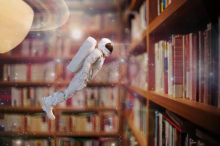书中漫游的太空人图片