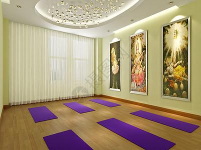 高档会所的瑜伽教室效果图图片