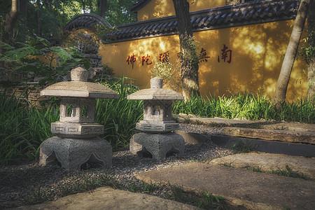 寺庙灯影禅意背景图图片