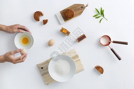 蛋黄月饼制作图片