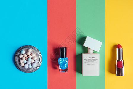 彩色背景彩妆元素图片