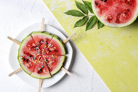 解暑切片西瓜设计背景素材图片