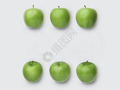 青苹果白色背景素材图片