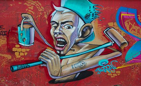 街头涂鸦图案油漆工图片
