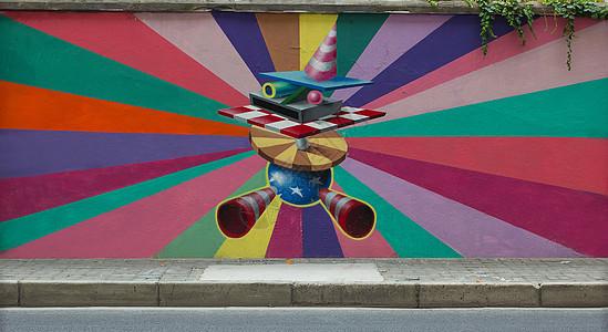 街头涂鸦素材色彩放射图片