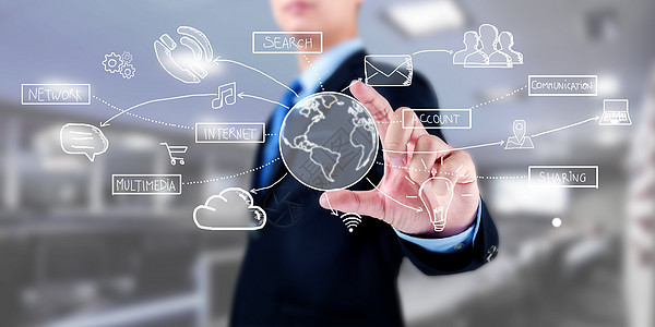 商人用手连接多媒体图标图片