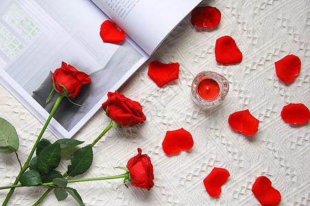 情人节七夕红玫瑰浪漫温馨背景素材图片