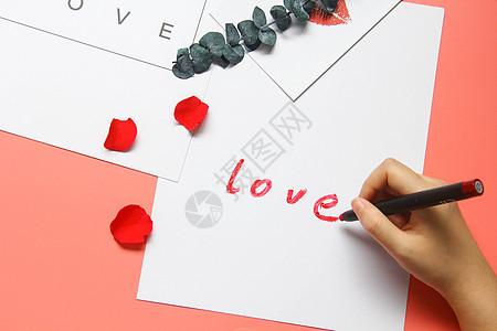 彩色背景用口红写love 情人节七夕背景素材图片
