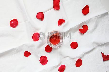 七夕情人节红玫瑰花瓣 ins风格白色静物背景素材图片