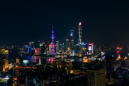 俯瞰上海城市夜景图片
