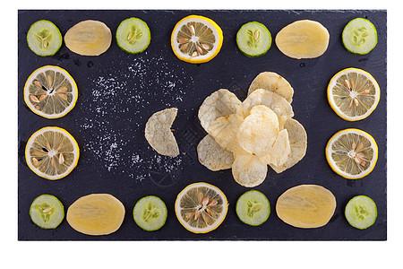 黄瓜柠檬薯片素材图片