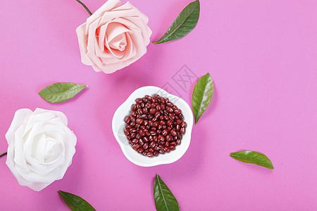 红豆五谷杂粮 粉色背景图片