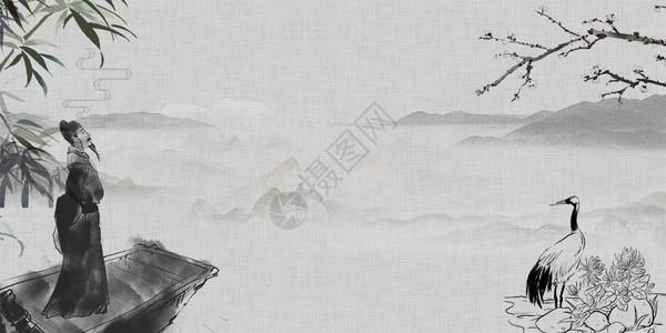 李白水墨画背景图片