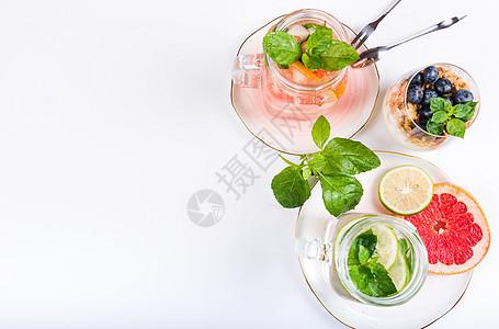 西柚薄荷蓝莓冷饮创意组合图片