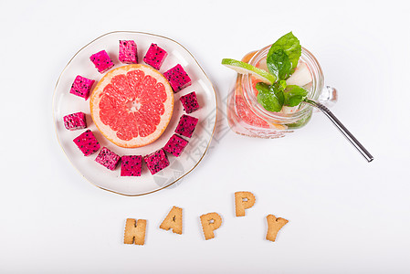 西柚薄荷火龙果冰饮饼干字母组合 小暑图片