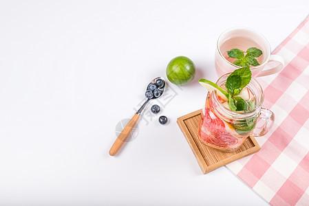 西柚蓝莓青柠 夏日冰饮创意组合图片