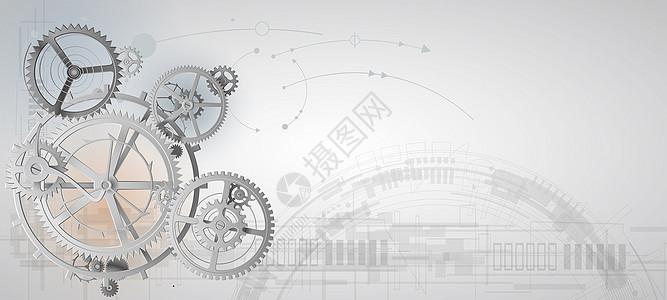 灰白色系齿轮科技背景图片