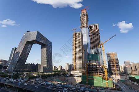 北京CBD商区CCTV和中国尊图片