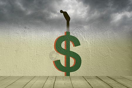 商务人员站在货币上俯视图片
