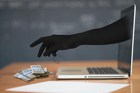 电脑里伸出的黑手图片