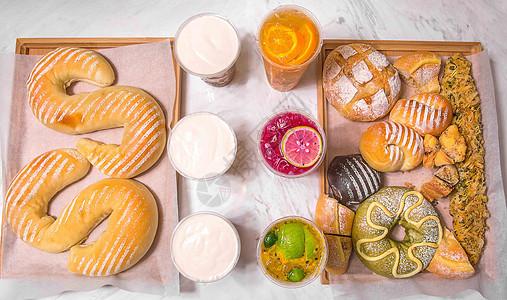 甜甜圈欧式面包果茶下午茶图片