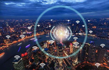 城市网络信号科技图片