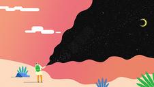 星空与陆地创意插画图片