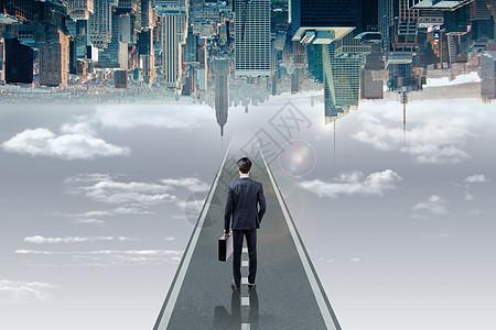 男人望向未来城市图片