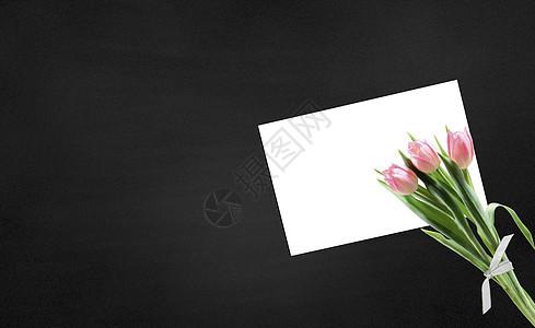 黑板上的贺卡与花图片