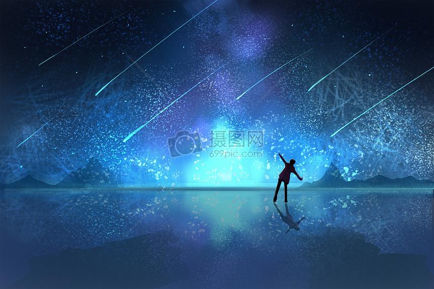 流星银河插画图片