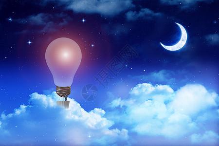 灯泡热气球上瞭望商务男士图片