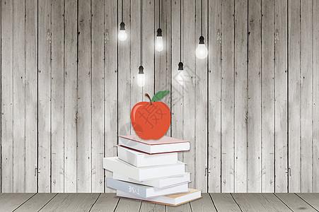 木板背景下的书图片