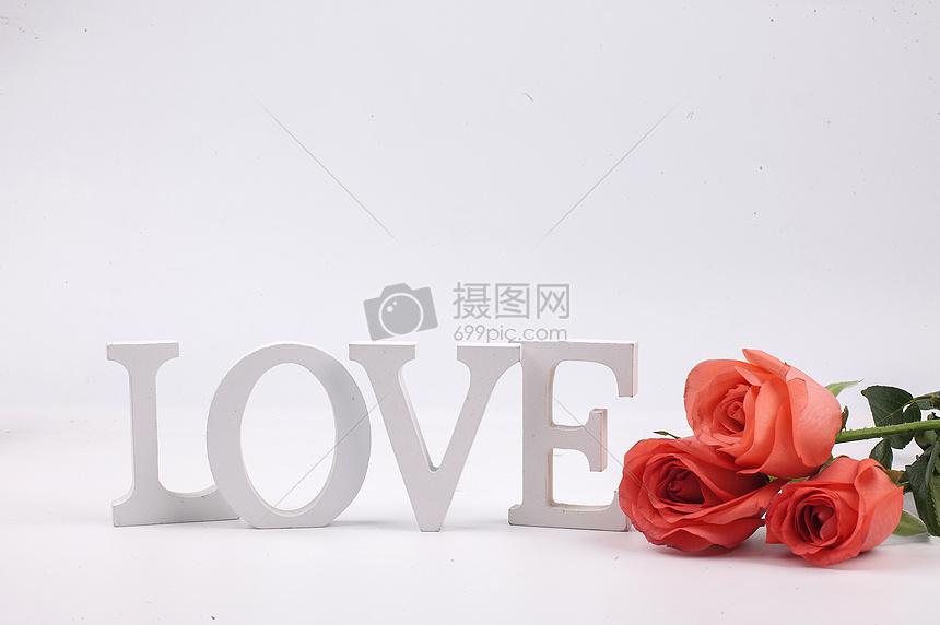 玫瑰鲜花和love图片
