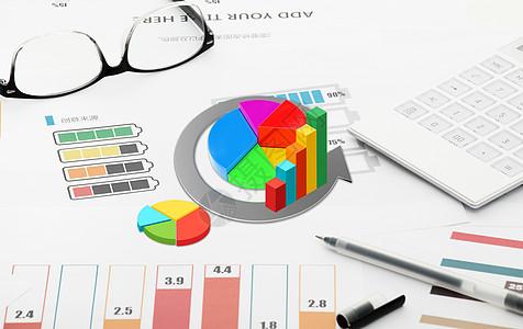 3D金融数据桌面效果图图片