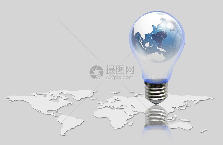 地图和灯泡图片