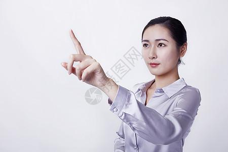职场亲和女性点击手势图片