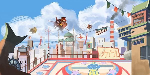 日本动漫架空世界观插画图片