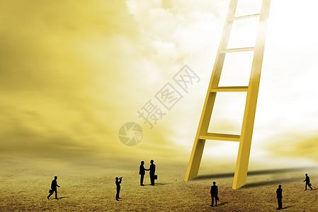 通向天空的梯子图片