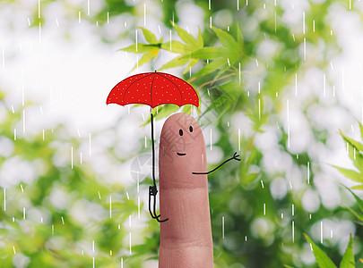 小红伞手指人图片
