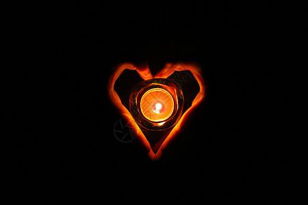 爱心祈福蜡烛微光图片