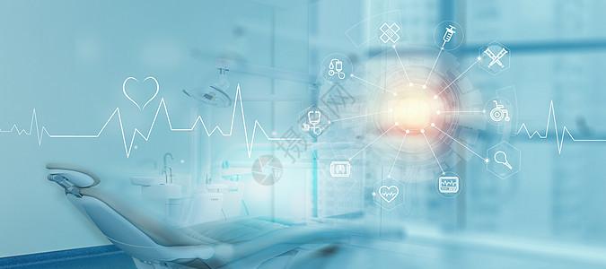 医院医疗科技蓝色背景图片
