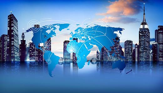 科技炫光蓝色发光海报桥城市背景夜城市天地球地图空蓝天图片