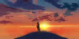 少年登山顶看夕阳插画图片